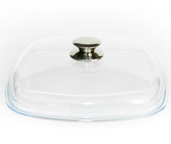 Крышка стеклянная квадратная 260*260 мм с металлической ручкой